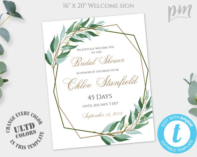 Geometric Sign Greenery Sign Welcome Bridal Shower Sign Template