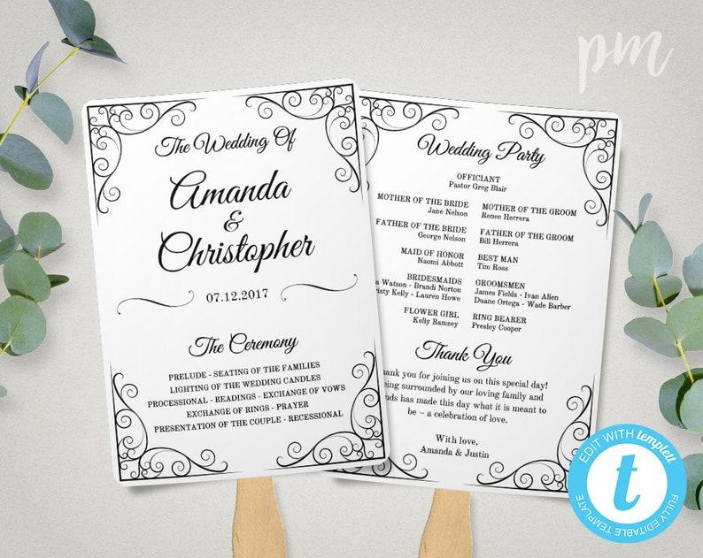 Wedding Program Fan Template.Vintage Wedding Program Fan Template Diy Fan Wedding Program