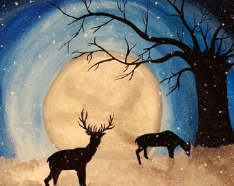 A Beautiful Snow Acrylic Painting