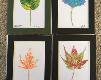 5x7 Hand Painted Green and Yellow Leaf