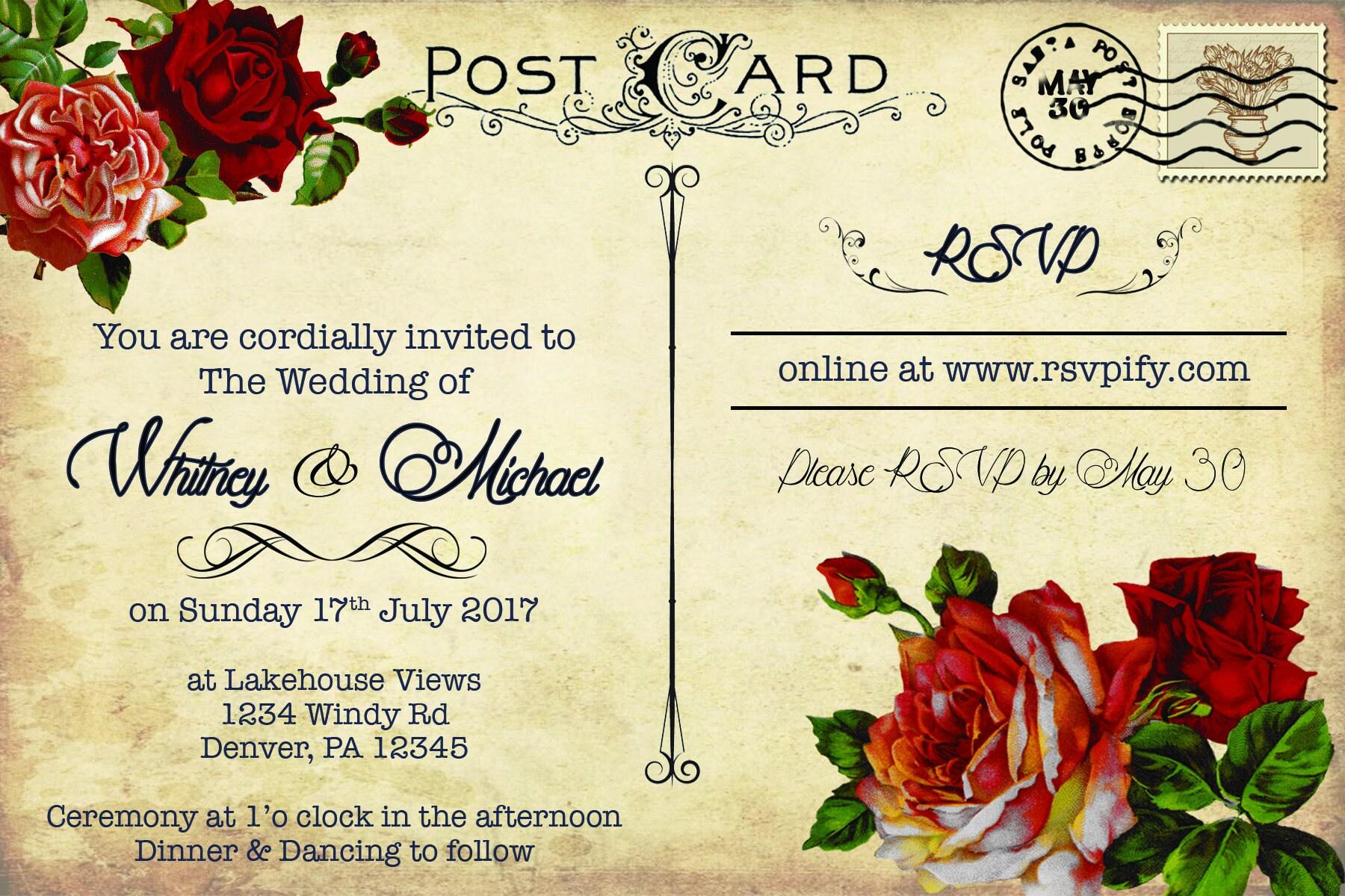 c4f56cfaba83 Rosas rojas postales invitación de boda