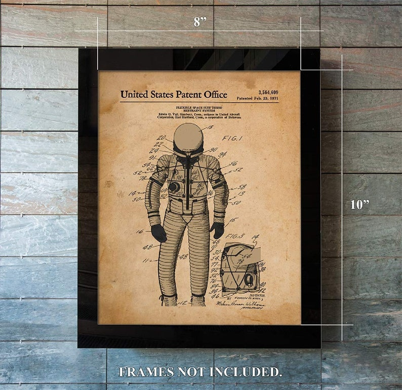 Patent Prints from 1971-2 Unframed 8 x 10 Prints Space Suit Den, Office Solar System Vintage Space Travel Decor -Gift for Game Room
