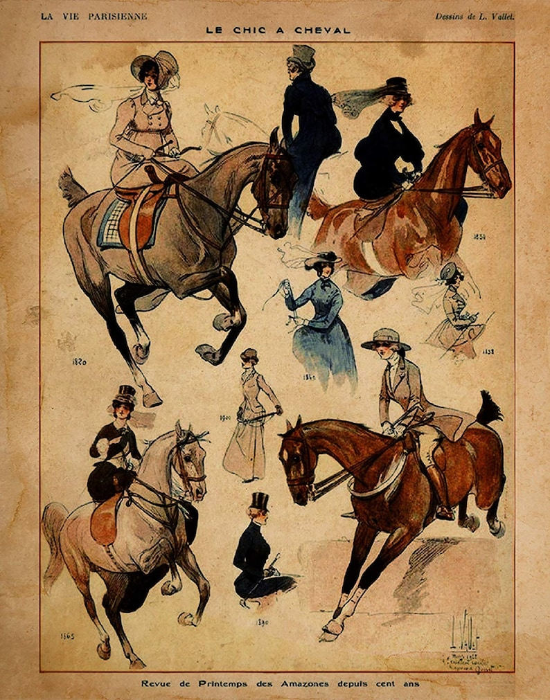 Horse Gifts for Women Vintage French Riding Attire Print 11 x 14 Unframed Print