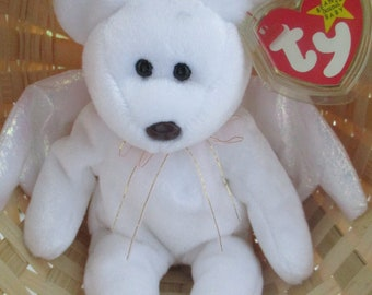 """61918b67391 Ty Beanie Baby """"Halo"""" Angel Bear Retired Nose Error and Tag Errors RARE"""