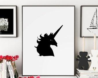 Unicorn, Unicorn Print, Unicorn Art, Unicorn Wall Art, Unicorn Gift, Unicorn Nursery, Unicorn Head, Wall Art, Wall Prints, Printable Art