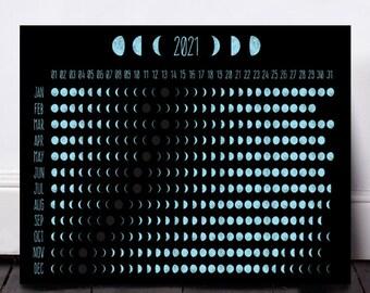 Moon Phase Calendar, Moon Calendar 2021, Lunar Calendar, Moon Phases, Printable Calendar, Moon Print, Moon Art, Digital Download