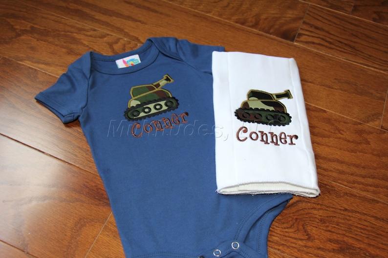 Boy Tank Applique BodysuitBurp Cloth Set