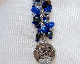 """Beaded Blue, silver and black keychain, planner charm or purse charm with  """"May all your dreams come true"""" jewel filled pendant and star"""