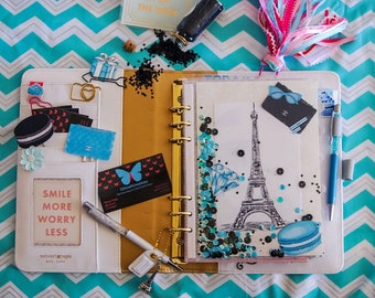 Paris planner shaker dashboard page, pocket, Eiffle Tower, macaron, Chanel purse, diamond, blue and black sequins glitter, A5 or Personal