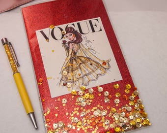 TN Travelers Notebook Shaker Dashboard insert featuring Vogue Disney Princesses on glitter paper