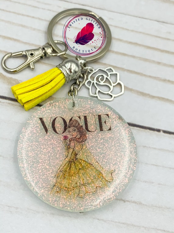 Vogue Disney princess glitter keychains