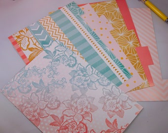 A5 Planner Dashboard and matching Dividers beautiful floral rose design with shades of pink, teal and gold.