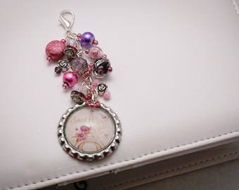 Pink and purple Roses in Paris, Eiffel Tower  beaded bottlecap planner, purse or bag charm.