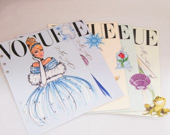 Set of 5 Vogue Disney tab Planner Dividers, Planner Accessories, A5, personal, cinderella, ariel, belle, tiana, elsa and ana. More available
