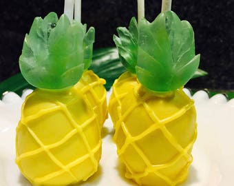 Gold or Yellow Pineapple Cake Pops - Luau, Pink Flamingo Party