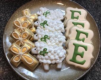 Monogram Sugar Cookie, Sheep, Lamb, Cross, Baptism