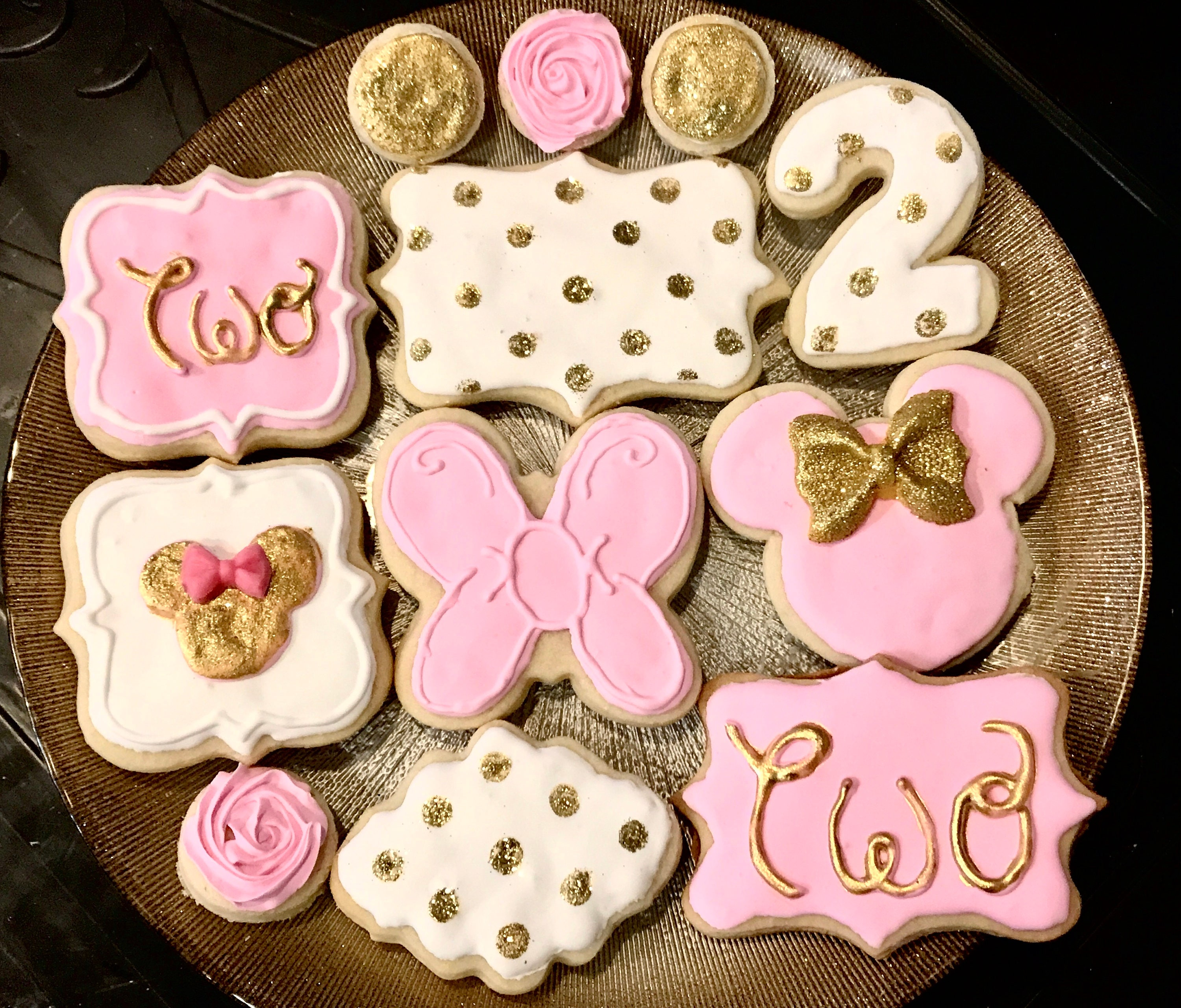 Minnie Mouse Sugar Cookies Pink Gold and White Bow
