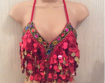 Festival super sassy dance rave jewel sequin coin tassel halter crop top in yellow summertime ibiza elsie and fred style