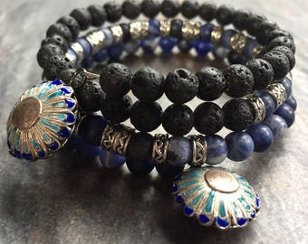 LifeBoho Indigo Lava Wrap Bracelet, Exotic Inlay Beaded Indigo Lava Triple Stacked Bracelet, Black Lava Rock Silver Bracelet *Free Shipping*