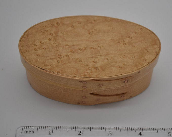 "Bird's Eye Maple Shaker Box #1;size 2 9/16"" x 4 9/16"" :Item #219"