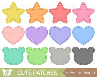 Cute Patches Clipart Patched Shapes Clip Art Patch Bear Heart Love Star Cliparts PNG Graphic Download Commercial Use