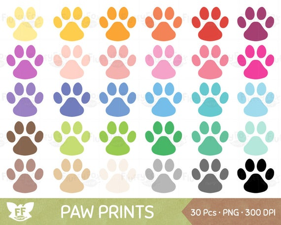 dog paw prints clipart animal pet paws print icon cliparts etsy