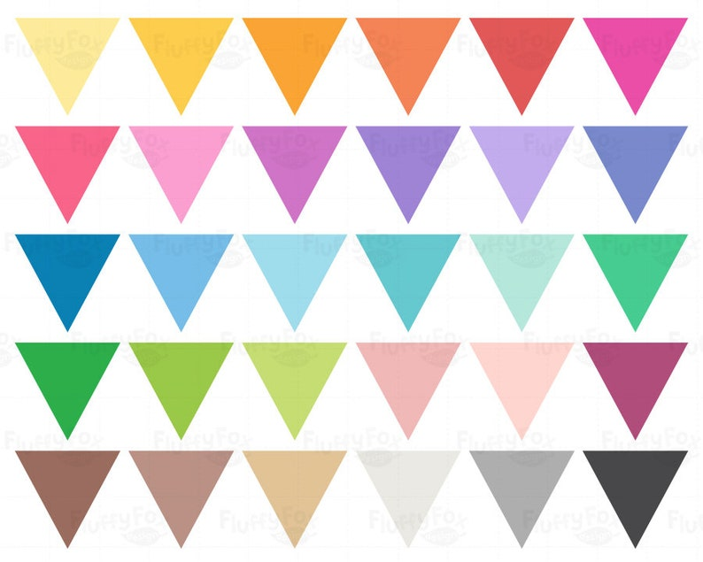 Triangle Bunting Flag Clipart Digital PNG Download Commercial Use Flags Banners Clip Art Pennant Colorful Rainbow Graphic Tag Label