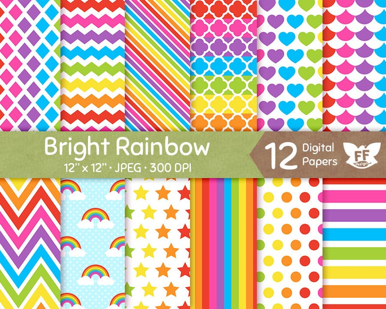Rainbow Digital Paper Bright Bold Color Papers Seamless image 0