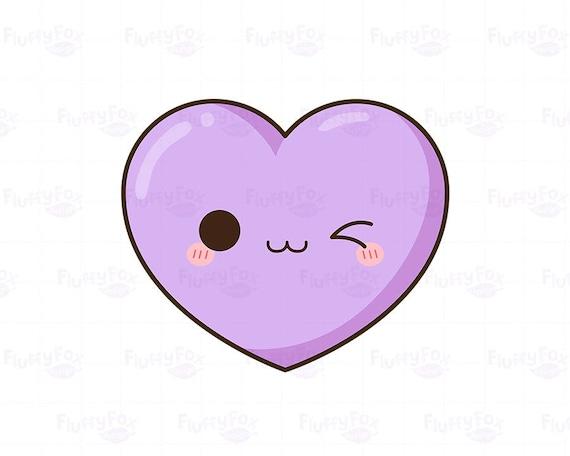 Clipart Coeur Kawaii Mignon Coeurs Clip Art Saint Amour Drôle Happy Face Couleur Pastel Arc En Ciel Emoji Expression Usage Commercial