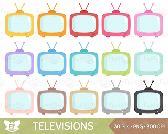 Television Clipart Tv Clip Art Cute Retro Electronic Rainbow Household Icon Digital Planner Graphic Png Download Commercial Use