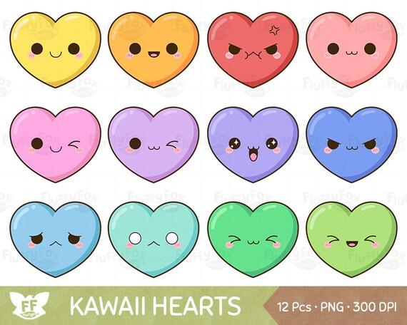kawaii heart clipart cute hearts clip art valentine love etsy rh etsy com cute pink heart clipart cute heart clipart png