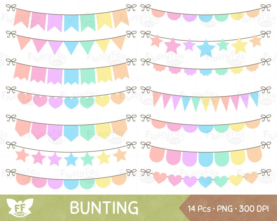 Pastel Rainbow Bunting Flag Clipart Party Banner Clip Art ...