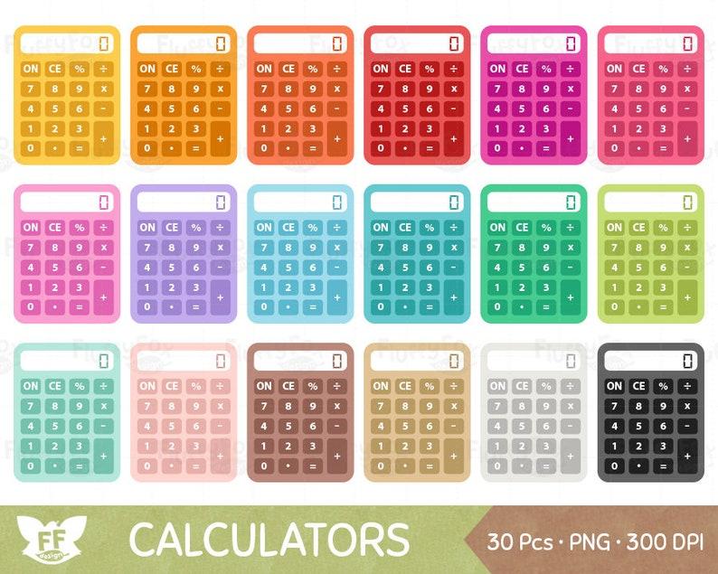 Calculator Clipart Teacher School Classroom Office Finance Supply Class Stationery Rainbow Cute Digital Graphic PNG Download Math Clip Art