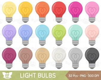 Light Bulb Clipart, Lamp Bulbs Clip Art, Electricity Electric Household Rainbow Colorful Cute, PNG Digital Graphic, Commercial Use
