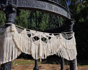 Macrame Wedding Arch, Arbour, CUSTOM, Wall Hanging, Curtain, Backdrop, Modern, Cotton, Boho, Bohemian, White, Background