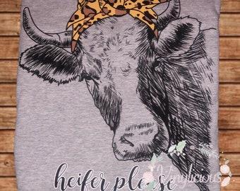 Heifer Please Shirt, Cow Shirt, Leopard, Bandana, Custom, Adult, Shirt, Cow Lovers, Country