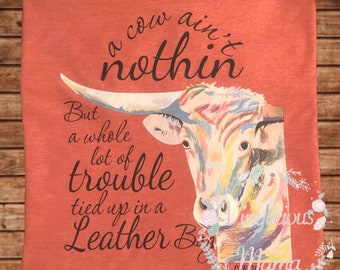 Heifer Shirt, Cow Shirt, Red, Leather Bag, Custom, Leather, Adult, Shirt, Cow Lovers, Country