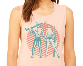 Spearfishing Couple Women's Flowy Scoop Muscle Tank Peach Living Coral Viridian Green Limpet Shell Mermaid Spearo Power Couple