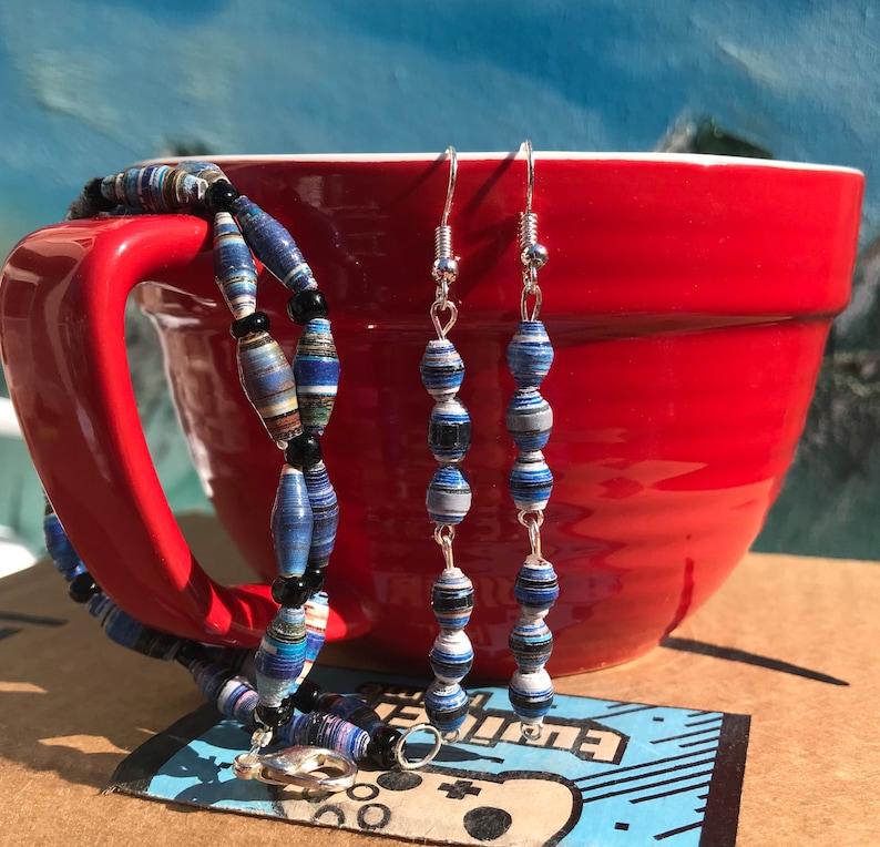 Blue Paper Bead Jewelry Set