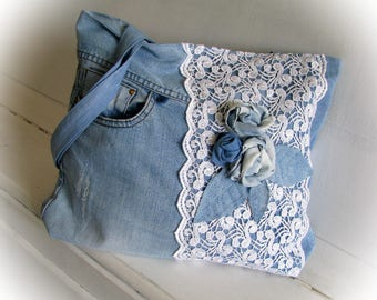 Denim blue boho bag with applique a rose Patchwork jean handbag  with lace Handmade jean bag Recycled jeans