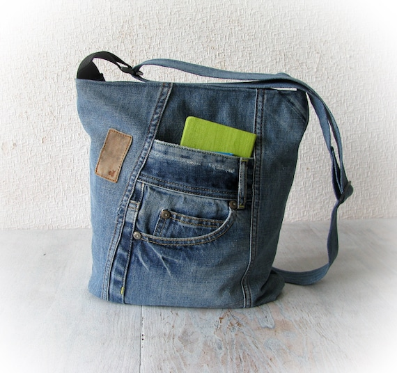 7434f926880 Blue jeans crossbody bag, recycled denim zippered bag, patchwork messenger  bag for women, vegan hand made bag