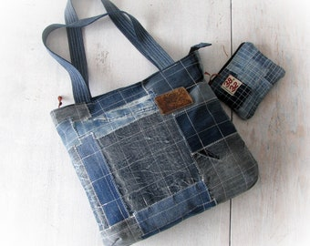 Recycled denim handbag, cosmetic purse, boro style, zippered jeans tote shopping   bag, patchwork  jean hobo bag, upcycled jeans