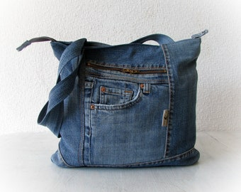 Upcycled denim bag with top zipper, jeans tote shopping bag, blue recycled hobo bag, OOAK patchwork jean handbag, old jean recycling