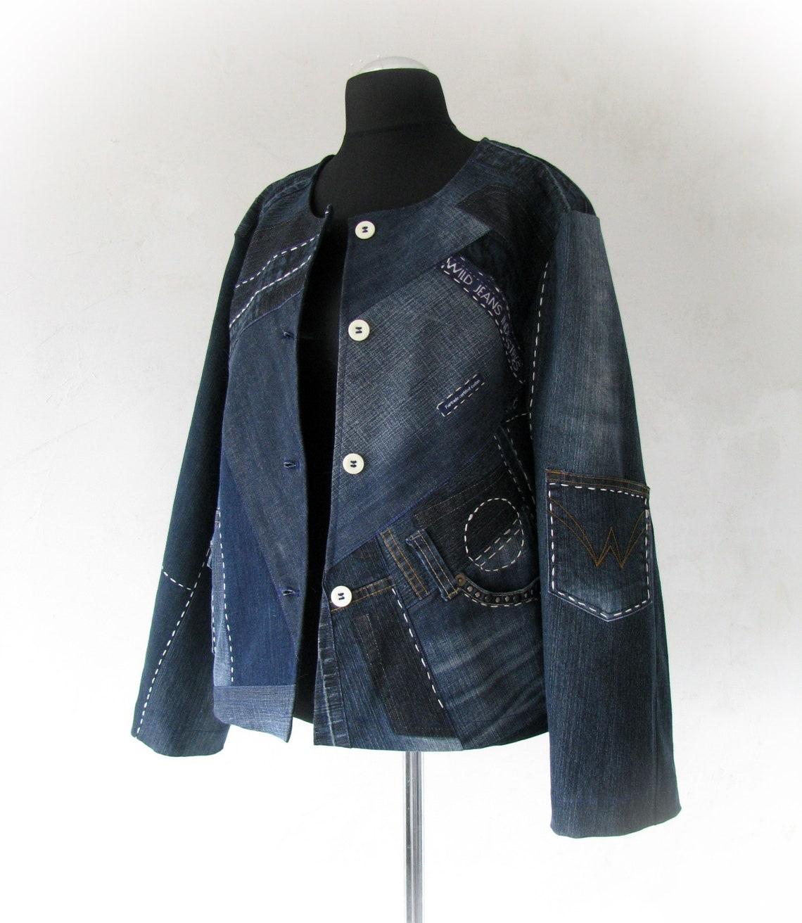 Recycled Denim Dark Blue Jacket, Upcycled Jean Patchwork Short Coat , Ooak Women Jacket Oversize, Hippie Style, Art Clothing