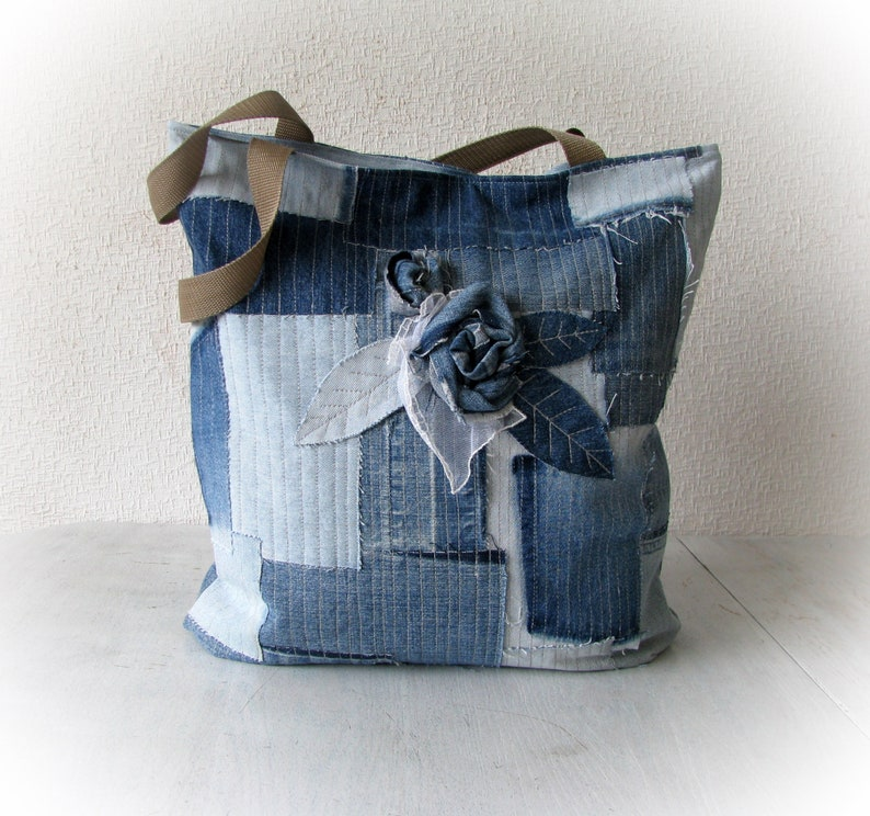 17fe90c2665 Recycled denim blue tote bag with applique a rose, upcycled jeans handbag,  vegan denim zippered bag, reused denim boho bag, denim boro bag
