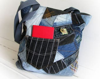recycled denim bag with top zipper, jeans tote shopping bag, crazy recycled bag, OOAK patchwork jean handbag, old jean recycling