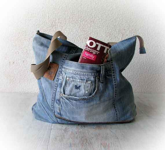 94f7633ddf4 Recycled denim tote bag, blue jeans big handbag, patchwork jean bag,  upcycled denim bag, recycled jeans, upcycling jeans, jean shopping bag