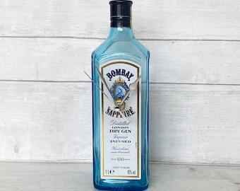 Bombay Sapphire Gin Bottle Clock Freestanding - Larger 1 Litre Bottle