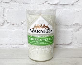 Warners Elderflower Gin Bottle Candle Upcycled Original Bottle