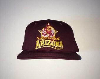 Vintage 90s ASU Arizona State University Sun Devils Starter Snapback Hat 58f168299db0
